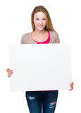 Woman hold with white board Stock Photo