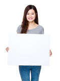 Woman hold with white board Royalty Free Stock Photo