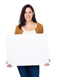 Woman hold with white board. Isolated on white background Royalty Free Stock Photography