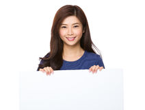 Woman hold with white board Stock Photography
