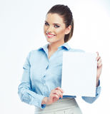 Woman hold white paper banner isolated over white background Royalty Free Stock Images