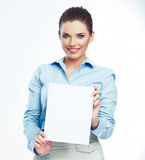 Woman hold white paper banner isolated over white background Royalty Free Stock Image