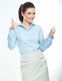 Woman hold white paper banner  over white backgrou Royalty Free Stock Image