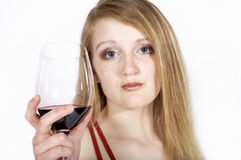 Woman hold wine glass Royalty Free Stock Images