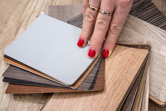Woman hold wooden color guide Royalty Free Stock Image