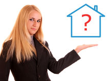 woman holdin house royalty free stock photography
