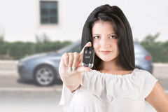 Woman Holdind Car Keys Royalty Free Stock Photos
