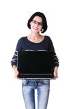 Woman holding 17 inch laptop Stock Photography