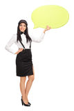 Woman Holding A Big Speech Bubble Stock Image