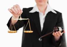 Woman Holding A Gavel And Scales Of Justice Royalty Free Stock Photo