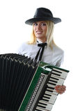 Woman holding accordion Royalty Free Stock Image