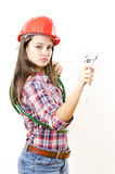 Woman holding Adjustable Wrench Stock Photo