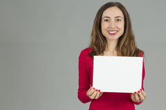 Woman holding an advertisement placard Royalty Free Stock Image