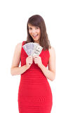 Woman is holding american dollars Royalty Free Stock Photos