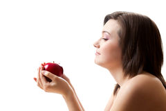 Woman holding apple Stock Image