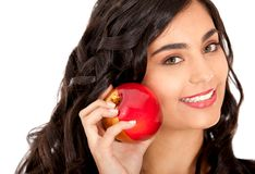 Woman holding an apple Stock Photos