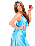 Woman holding an apple Royalty Free Stock Images