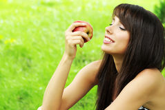 Woman holding apple. Stock Photography