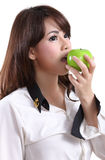 Woman holding apple stock images