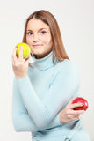 Woman holding apples Stock Photos