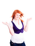 Woman holding arms up over white Stock Image