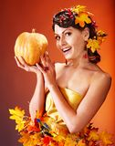 Woman holding autumn fruit. Stock Images