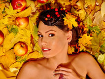 Woman holding autumn fruit Royalty Free Stock Images
