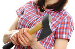 Woman holding axe in hand Royalty Free Stock Image