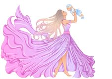 Woman holding a baby boy. Illustration of a beautiful young woman in a long fluttering dress and with long hair holding a little baby boy. Vector color vector illustration