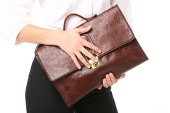 Woman holding a bag Stock Photography