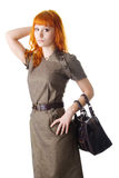 Woman holding a bag Royalty Free Stock Photos