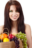 Woman holding bag full healthy food royalty free stock photos
