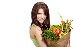 Woman holding  bag full   healthy food Royalty Free Stock Photo