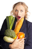 Woman holding a bag full of healthy food. shopping Royalty Free Stock Photos