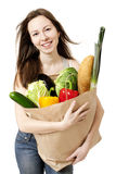Woman Holding Bag of Healthy Groceries Stock Image