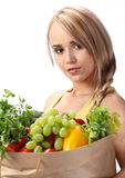 woman holding bag with vegetables Stock Image