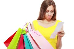 Woman holding bags card Royalty Free Stock Images