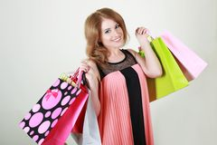 Woman holding bags Stock Image