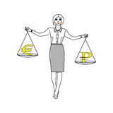 Woman holding a balance thinking what to choose -. Or euro ruble vector Stock Images