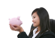 Woman Holding Bank Royalty Free Stock Photo