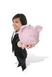 Woman Holding Bank royalty free stock image