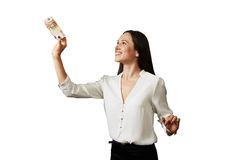 Woman holding banknote Royalty Free Stock Images