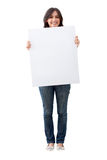 Woman holding a banner Stock Image