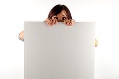 Woman holding a banner #13 Stock Photos