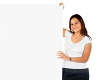 Woman holding a banner Royalty Free Stock Images