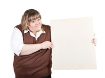 Woman holding a banner stock photography