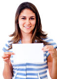 Woman holding a banner Stock Photo