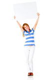Woman holding a banner Royalty Free Stock Photo