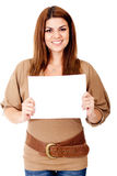 Woman holding a banner Royalty Free Stock Image