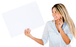 Woman holding a banner Stock Images